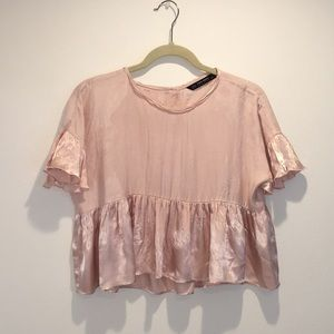 Zara top with satin ruffled bottom and sleeves